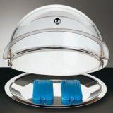 Tava rece pentru prajitur, inox, capac transparent si doua elemente de racire Diametru 38cm , inaltime 24cm