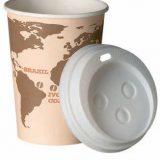 Pahare de unica folosinta din carton, speciale pentru bauturi calde, cu cpac, model World Map, capacitate 100, 150 si 200 ml