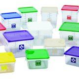 Cutii pentru alimente, capace colorate conform codurilor de culoare standard in industria alimentara