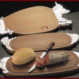 Elegance   tava prezentare si servire, inox, decoratiuni sugestive pentru continut executate  in relief, blat din lemn,