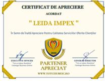 Leida Impex CERTIFICAT DE APRECIERE